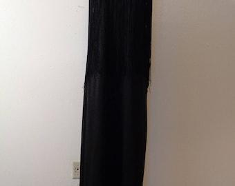 Vintage 70s Black Knit Long Black Fringed Top Skinny Shoulder Strap Mod GoGo Column Maxi Dress Sz M