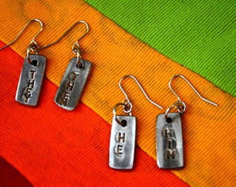 Pronouns Earrings - Solid Steel Queer Jewellery, LGBT Earrings, for Queer, Trans, Genderqueer People– They/Them, She/Her, etc.