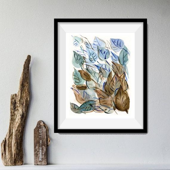 leaves art print, Abstract Leaves art print, Leaves watercolor print, modern art, home decor, leaves art, Teal, brown, contemporary art