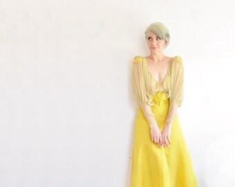 1930 golden yellow gown . sheer chiffon bodice . floor length formal dress .small