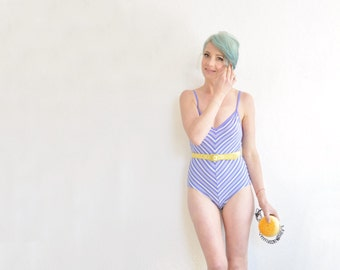 periwinkle blue striped swimsuit . one piece chevron bathing suit leotard .small