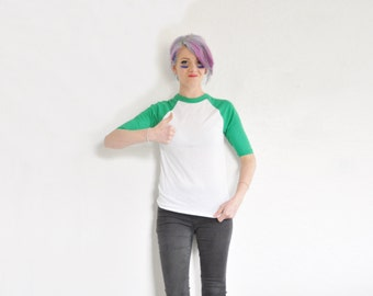 grass green raglan baseball uniform tee . bad news bears team shirt .extra small.xs .sale s a l e