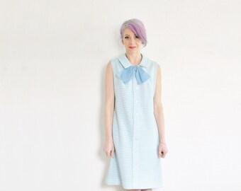 pale blue mod shift dress . large sheer bow tie . peter pan collar .medium