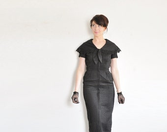 1940 sailor secretary dress . mid century pin tucked black dress .extra small.xs .sale