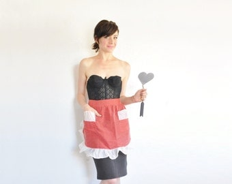 red cupid valentine apron . polka dots and sheer ruffle trim .small.medium.large .sale