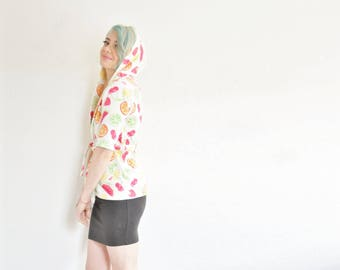 kawaii fruit bathrobe . cherry lemon watermelon . hooded cover up .extra small.xs .sale