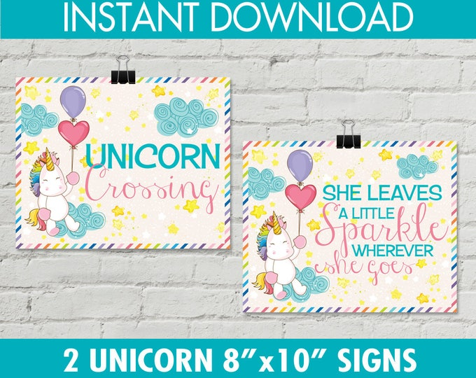 "Unicorn Party Sign Set of 2- 8""x10"" - Unicorn Birthday Party, Magical Unicorn, Rainbow Party, Party Signs    INSTANT Download PDFs"