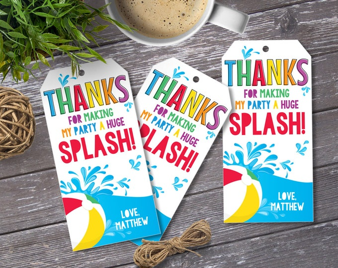 Pool Party Favor Tag - Thank You Tags, Birthday Party Favors, Summer | DIY Editable Text Instant Download PDF Printable