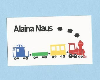 Choo Choo Train Calling Cards - Treat Bag Tags - Party Favor Tags - Gift Enclosure Cards