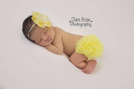 Baby BLOOMER and FLOWER HEADBAND- Yellow chiffon baby bloomer, bloomers, ruffle bloomer, newborn bloomers, Yellow Flower headband