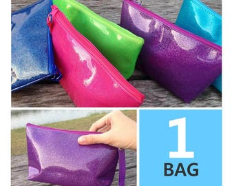 Glitter Bright Color PVC Vinyl Zipper Pouch | Cosmetic bag | Party bag | Gift bag | Reusable bag | Travel bag | Toiletry Bag | Beach Bag |