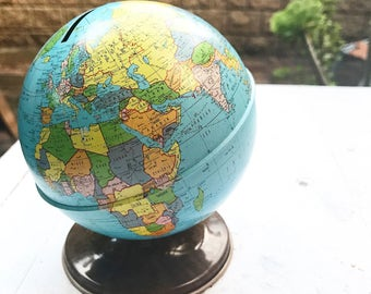 Vintage Metal World Globe Bank