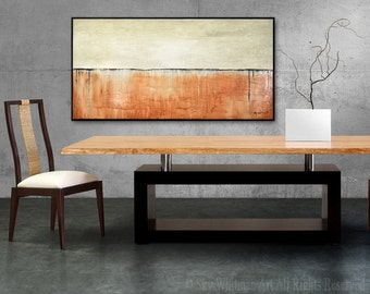 Textured Original Abstract Large Modern Painting High Gloss Cream Oil Painting Contemporary Art Design Decor 24x48 by Bethany Sky Whitman