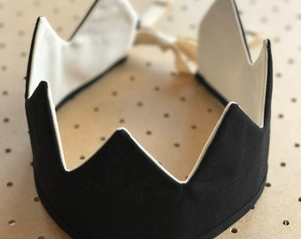 Fabric Crown / Black and Ecru