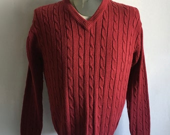 Vintage Men's 70's Robinson's Cable Knit Sweater, Burgundy, V Neck, Pull Over (M)