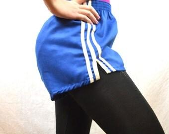 Vintage 80s Mini Track Blue Striped Sports Shorts