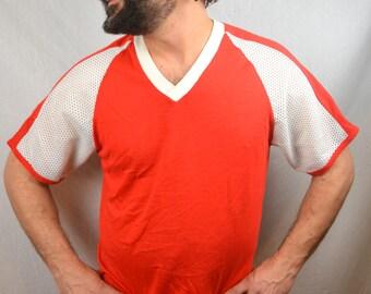 Vintage Mesh Red Ringer Tee Shirt Shirt