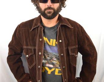 Vintage 70s Brown Leather Suede Jacket Coat