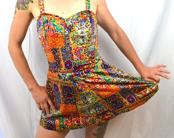 Vintage 1950s 60s Kahala Rainbow Tiki Summer Pinup Swim Suit Swimsuit Playsuit