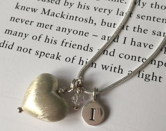Bridesmaid's Sterling silver puffed heart, crystal and initial necklace