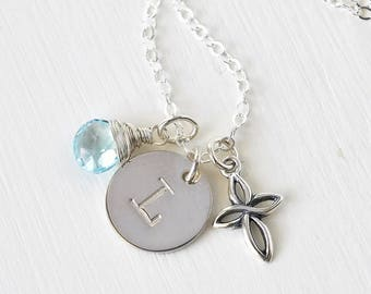 Personalized Cross Birthstone Initial Necklace Sterling Silver 18 Inch / Personalized Confirmation Gifts / Christian Jewelry
