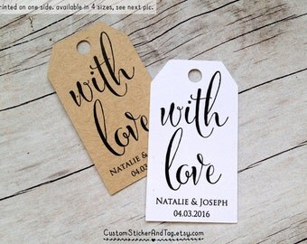 with love tags, custom wedding tag, personalized with your names and wedding date, 4 sizes to choose, kraft tags, thank you tags (T-105)