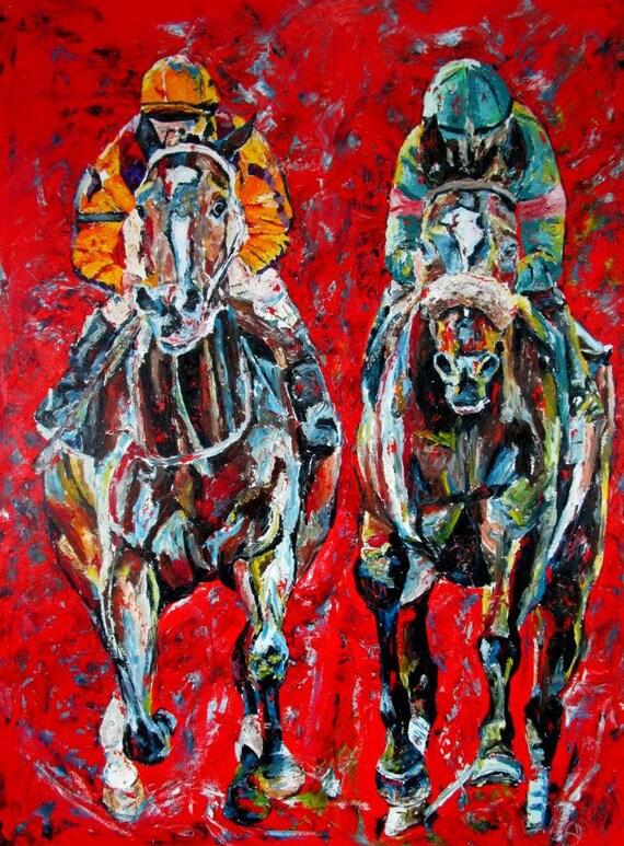 Rachel Alexandra and Zenyatta horse racing original oil painting large