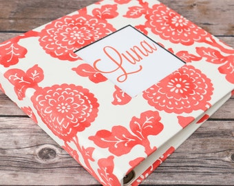 Baby Book, Baby Gift, Baby Album, Baby Memory Book, Baby Keepsake, Modern Baby Book, Coral Mums