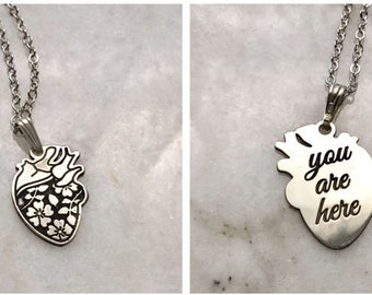 "Sterling Silver Human Heart Necklace With Engraving with ""YOU ARE HERE"" or ""you're my person"" Anatomical Medical Graduation Love Silver goth"