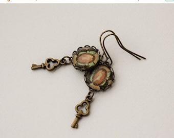 40% OFF SALE Lock and Key Steampunk Butterfly Earrings in Antique Brass