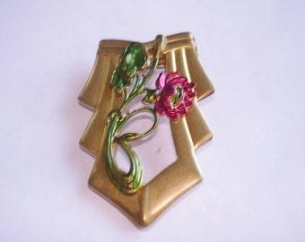 Flower Brooch Ruby Gold Tone