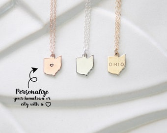State Charm Ohio Necklace, Miniature Jewelry State Charms, Small Ohio Necklace, State Necklace, Gold Ohio, Silver Ohio Charm, Ohio Bracelet
