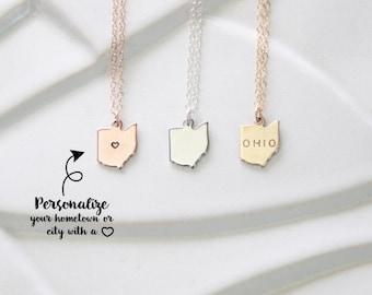 State Charm Ohio Necklace, Miniature Jewelry State Charms, Small Ohio Necklace, State Necklace, Gold Ohio, Silver Ohio Charm, Ohio Bracelet