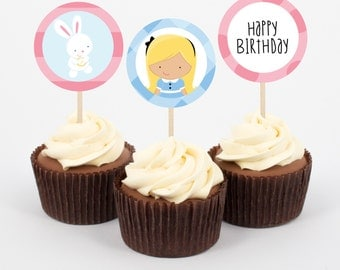 Alice in Wonderland Birthday Cupcake Topper and wrappers, Instant Download Wonderland Party, Kids party, Print yourself