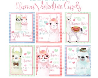 Llama Valentine Day Cards, Alpaca, Love, Instant Download Cards, Kids Valentines, Instant Download Valentines Cards, Animal puns