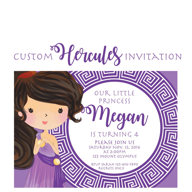 Hercules Party Invitation Custom Meg from Hercules Invites