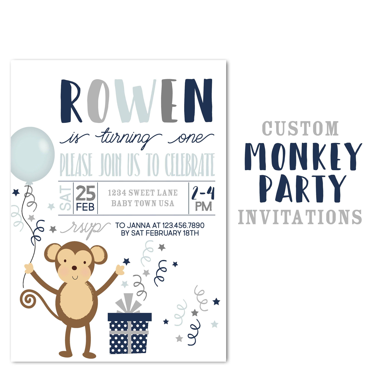 Monkey Birthday Party Invitation, Custom Jungle Animal Birthday ...