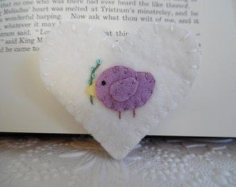 Corner Felt Bookmark Bird Heart Purple Flower Wool Felted Book Mark