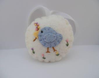 Felt Bird Pincushion Flower Fob Scissor Charm Penny Rug Felted Wool