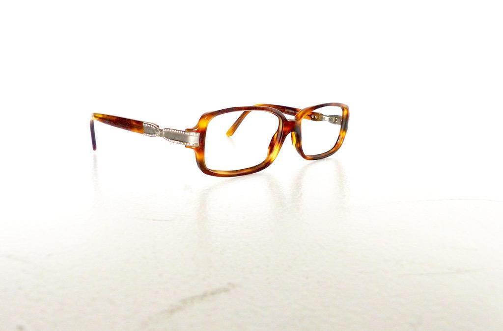 popular eyeglasses frames agqr  90s Versace Rectangular Eyeglasses Frames Women's Vintage 1990's  Tortoiseshell w Silver & Jewels Detail Italy Model 3053 #M878 DIVINE