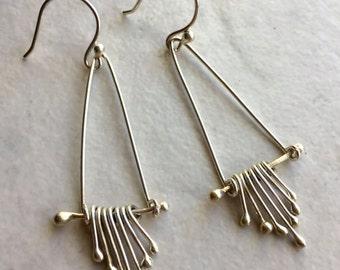 Silver Dangle Earrings; Chandelier Earrings, Silver Wire Earrings, Handmade Silver Earrings, Gift for Her, Bridesmaid Earrings, Boho Earring