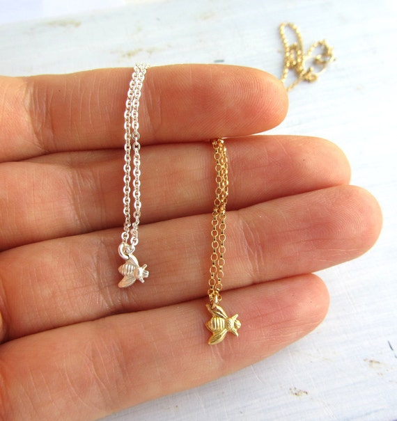 Honey bee necklace, bee necklace gold, honeycomb necklace, bee keeper necklace, tiny bee necklace gold or sterling silver, bee jewelry