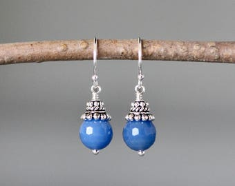 Onyx Earrings - Bali Silver Earrings - Blue Gemstone Earrings - Blue Onyx - Wire Wrapped Earrings Silver - Onyx Jewelry - Bridal Jewelry
