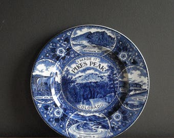 I Made It - Pike's Peak Colorado - Vintage State Souvenir Plate - Blue and White Plate
