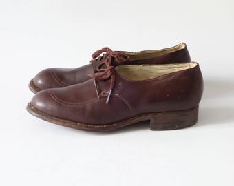 Brown brogues | Caramel leather oxford heels | 1940's by Cubevintage | size 36fr