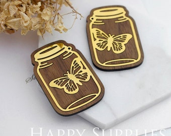 Limited Edition - 1pcs Handmade 24K Gloden Brass Wooden Charm / Pendant, Perfect for Earring Necklace (LES35)