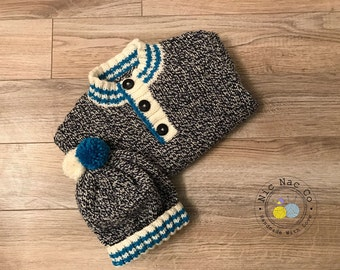 "Jacket ""Marine Navy"" and his cap, collar buttoned, style sailor, Navy Blue, off white and turquoise, knitted by hand, for child (2 years)"