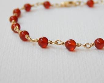Carnelian Bracelet - Gold Filled Beaded Bracelet Rosary Bracelet Beadwork Bracelet Rosary Chain Carnelian Beads