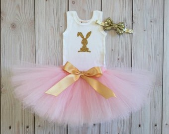 Sweet Pink Bunny Easter Tutu Dress for Baby Girls