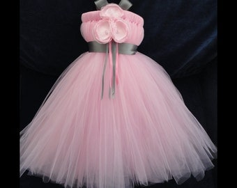 Blush Pink and Grey Flower Girl Dress, Little Girls, Toddler Girls, Baby Girls, Flowergirl Dress, Tutu Dress, Flower Sash